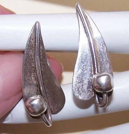 Mexican RETRO MODERN Sterling Silver Earrings - True Left & Right Pair!