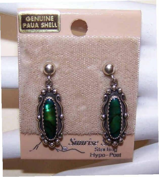 Vintage STERLING SILVER & Paua Shell Drop Earrings on Original Card!