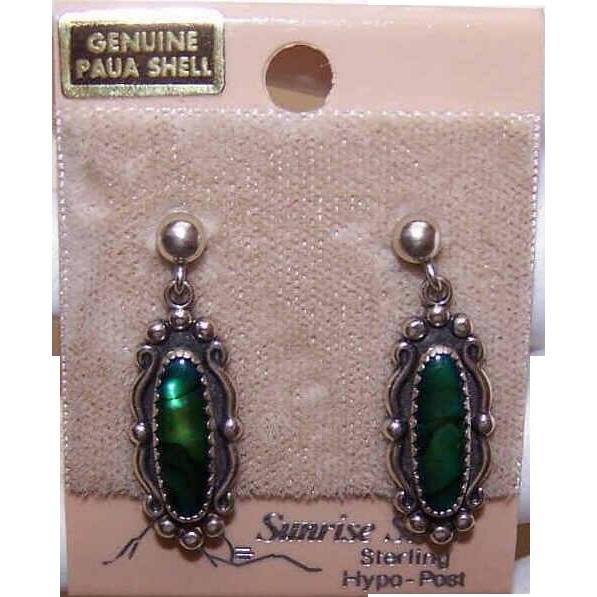 Vintage STERLING SILVER & Paua Shell Drop Earrings on Original Card!