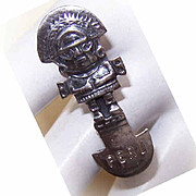Vintage STERLING SILVER Souvenir Pin from Peru - Aztec God!!