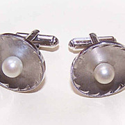 1950s STERLING SILVER & Cultured Pearl Cufflinks/Cuff Links by La Mode!