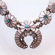 "Signed A. Gasper STERLING SILVER & Stone Inlay ""Sunface"" Squash Blossom Necklace & Earrings!"