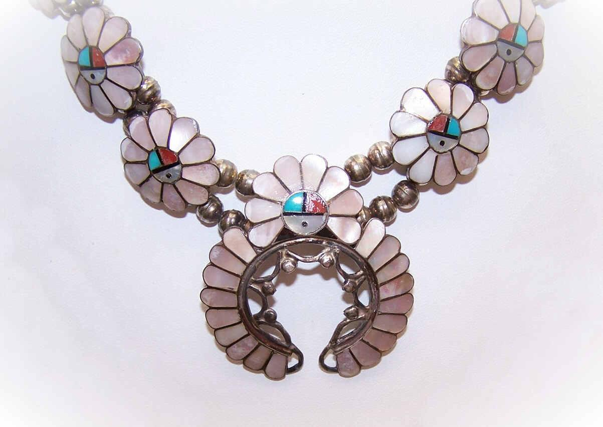 """Signed A. Gasper STERLING SILVER & Stone Inlay """"Sunface"""" Squash Blossom Necklace & Earrings!"""
