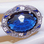 ART DECO Rhodium, Enamel & Blue Rhinestone Pin/Brooch!