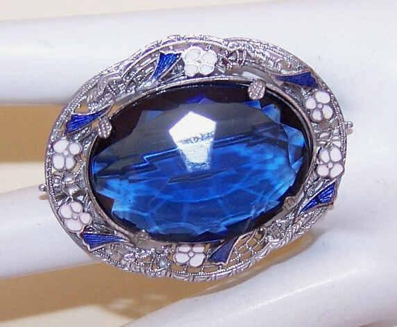 ART DECO Rhodium, Enamel & Blue Rhinestone Pin/Brooch!