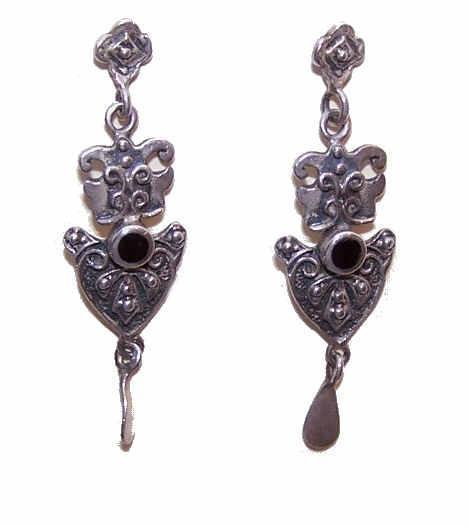Vintage STERLING SILVER & Black Onyx Drop Earrings!