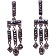 ART DECO Revival Sterling Silver & Marcasite Drop Earrings!