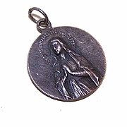 Vintage FRENCH SILVERPLATE Religious Medal - Virgin Mary & Sacred Heart of Jesus!