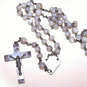 Vintage FRENCH Mother of Pearl and 800 Silver Rosary!