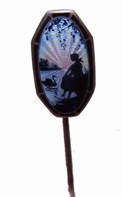 Vintage STERLING SILVER & Guilloche Enamel Stick Pin by Aksel Holmsen, Norway!