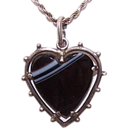 "ANTIQUE VICTORIAN Sterling Silver & ""Heart Shaped"" Banded Agate Heart Pendant!"