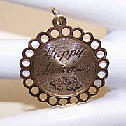 Vintage STERLING SILVER Vermeil Disc Charm - Happy Anniversary!
