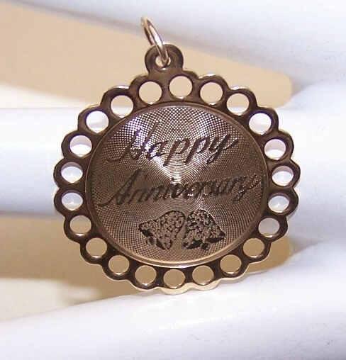 Vintage STERLING SILVER Vermeil Disc Charm - Happy Anniversary!