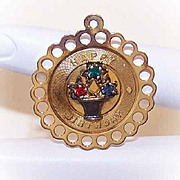 Vintage STERLING SILVER Vermeil & Faux Gem Disc Charm - Happy Birthday!