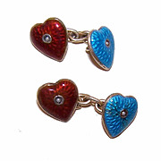 Antique Victorian Silver Gilt, Enamel & Seed Pearl HEART Cufflinks/Cuff Links!