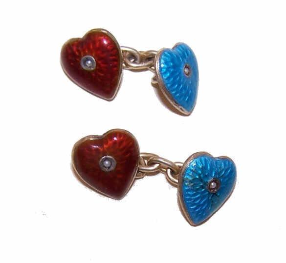 Antique Victorian Silver Gilt, Enamel & Seed Pearl HEART Cufflinks/Cuff Links!