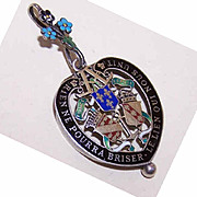 RARE Antique Edwardian French Silver & Enamel HEART SHAPED Locket/Pendant!