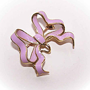 French 18K Gold & PINK ENAMEL Watch Pin/Brooch - Bow Shape!