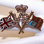 RARE C.1897 15K Gold, Enamel & Seed Pearl QUEEN VICTORIA Jubilee Pin/Brooch!