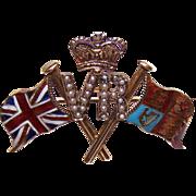 RARE C.1897 15K Gold, Enamel & Seed Pearl QUEEN VICTORIA Jubilee Pin/Brooch!