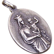 Vintage FRENCH Silverplate Religious Medal - Madonna & Child!