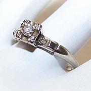 Retro Modern 14K Gold & .11CT TW Diamond Engagement Ring!