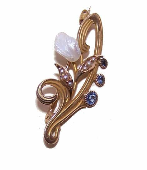 ANTIQUE EDWARDIAN 14K Gold, Freshwater Pearl & Sapphire Floral Pin/Brooch!
