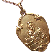 Art Nouveau FRENCH 18K GOLD FILLED First Communion Medal/Pendant!