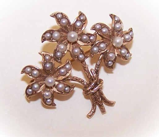ANTIQUE VICTORIAN 14K Gold & Natural Seed Pearl Pin/Brooch - Bouquet of Flowers!