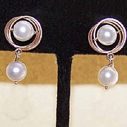 Vintage 14K Gold & 6.5mm Cultured Pearl Drop Drop Earrings!