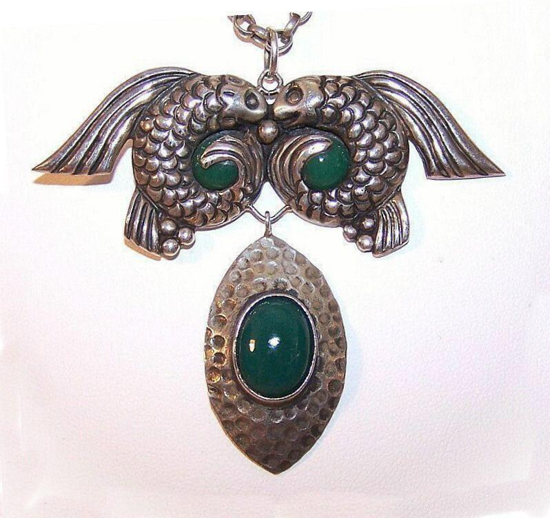 Pre-1948 Sterling Silver & Green Onyx Necklace by ANTON, Taxco!