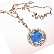 BELLE EPOCH 18K Gold, Diamond, Enamel & Natural Pearl Locket Pendant with Chain!
