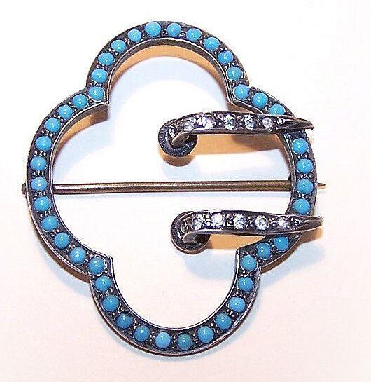 "ANTIQUE VICTORIAN Sterling Silver, Glass Turquoise & Rhinestone Paste ""Buckle"" Pin/Brooch!"