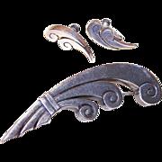 Vintage Mexican 980 SILVER Demi-Parure - Pin & Earrings by La Cucaracha!