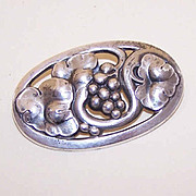 Vintage GEORG JENSEN Denmark Sterling Silver Pin - Grapes & Leaves 177B!