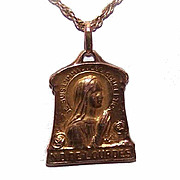 Art Deco FRENCH FIX 18K Gold Filled Religious Medal/Pendant - Virgin Mary at Lourdes!