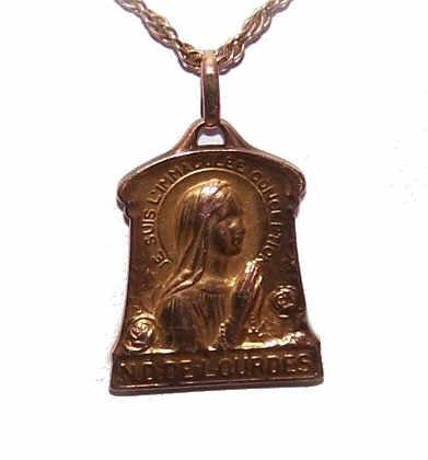Vintage FRENCH FIX Religious Medal/Pendant - Virgin Mary at Lourdes!