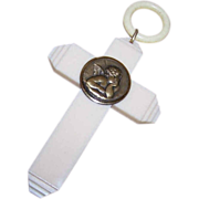 Vintage FRENCH Celluloid Croix de Berceau with Raphael's Angel/Cupid!