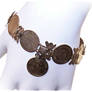 Retro Modern COIN SILVER Sweetheart Bracelet - Philippine Coins with a Gold Overlay