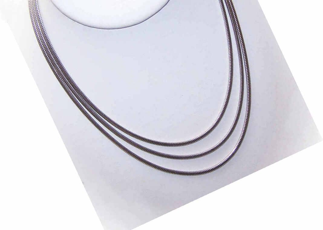 "Fluid 1960s TRIPLE LINK Sterling Silver ""Snake"" Chain Necklace!"