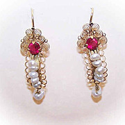 Vintage 10K Gold, Cultured Pearl & Synthetic Ruby Drop Earrings!