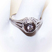 ART DECO 18K Gold & .10CT Diamond Engagement Ring!