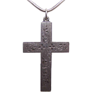 ANTIQUE VICTORIAN Etched Sterling Silver Cross Pendant!