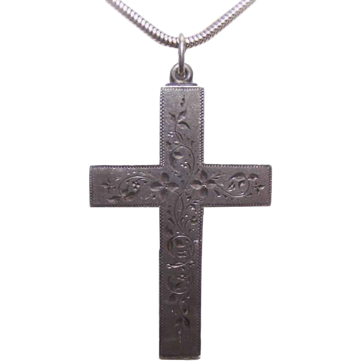ANTIQUE VICTORIAN Sterling Silver Cross Pendant - Lightly Etched Top