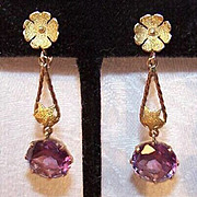 Stunning ESTATE 14K Gold & 9.25 CT TW Alexandrite Drop Earrings!