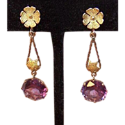 Stunning ESTATE 14K Gold & 9.25 CT TW Alexandrite Drop Earrings!