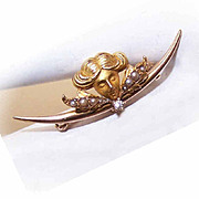 ART NOUVEAU 14K Gold, White Sapphire & Natural Pearl Watch Pin/Brooch!