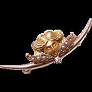 ART NOUVEAU 14K Gold, White Sapphire & Natural Pearl Watch Pin/Brooch!