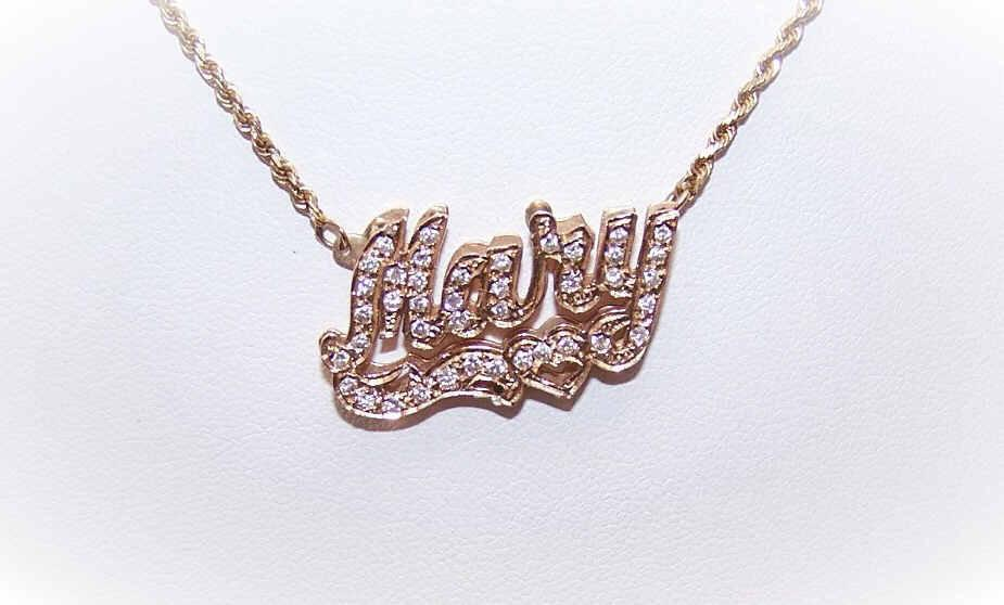 "Vintage 14K Gold & .50CT TW Diamond ""Name"" Necklace - Mary!"