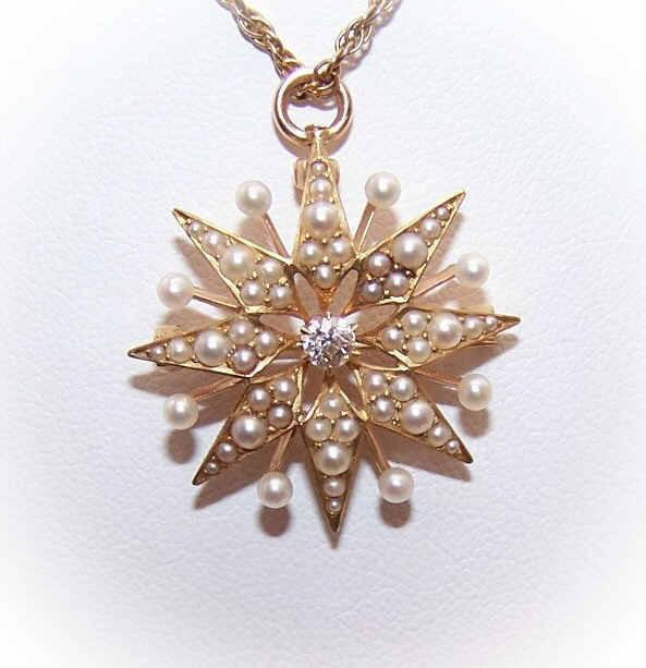 ANTIQUE EDWARDIAN 14K Gold, .12CT Diamond & Natural Pearl Pin/Pendant by Krementz!